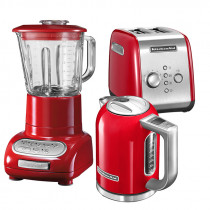 KitchenAid Set Wasserkocher + Toaster + Standmixer Empire Rot