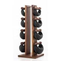NOHrD Swing Turm Nussbaum schwarzes Leder - Hanteln aus Vollholz und Leder, 13.217, 4260263014589