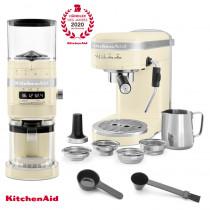 KitchenAid Artisan Espressomaschine mit Mühle im Set creme/mandel  BHDJ