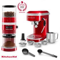 KitchenAid Artisan Espressomaschine mit Mühle im Set Liebesapfelrot