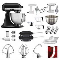 KitchenAid Küchenmaschine 5KSM156HMEBM Maxi-Paket mattschwarz inkl. 2 Pfannen
