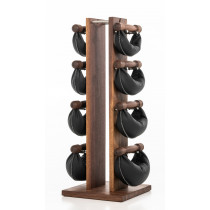 NOHrD Swing Turm Nussbaum schwarzes Leder- Hanteln aus Vollholz und Leder