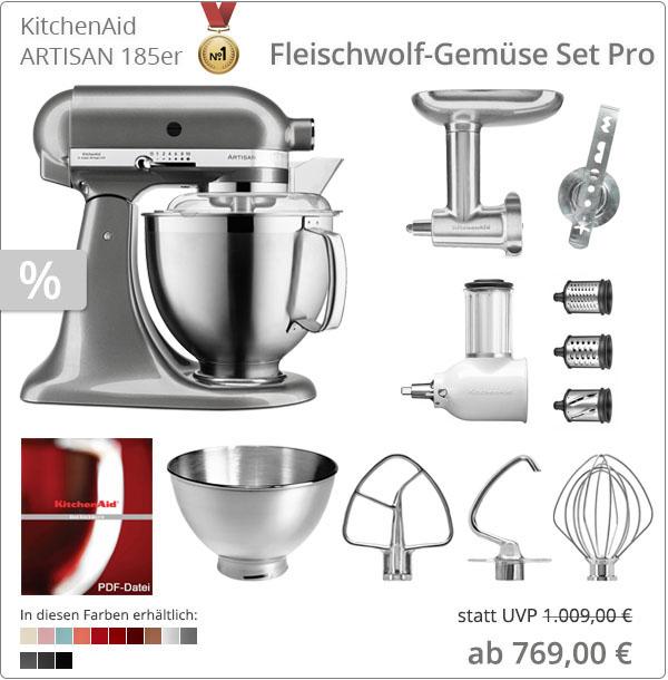 KitchenAid Sparpaket - Fleischwolf-Gemüse Set Pro mit 5KSM185PS
