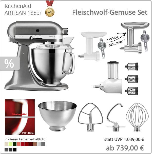 KitchenAid Sparpaket - Fleischwolf-Gemüse Set mit 5KSM185PS
