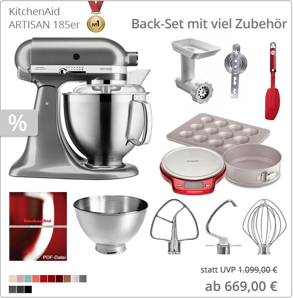 KitchenAid Backset mit Waage, Fleischwolf, Backformen und 5KSM185PS