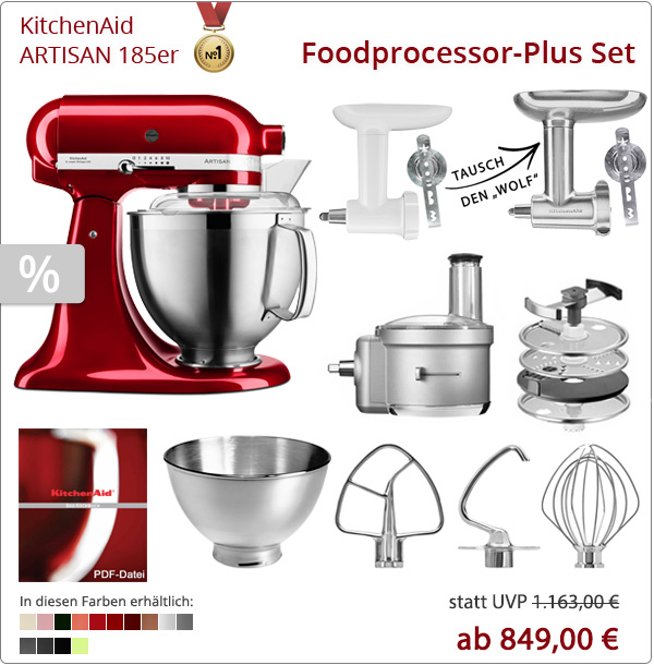 KitchenAid Artisan 5KSM185PS mit Foodprocessor und Fleischwolf
