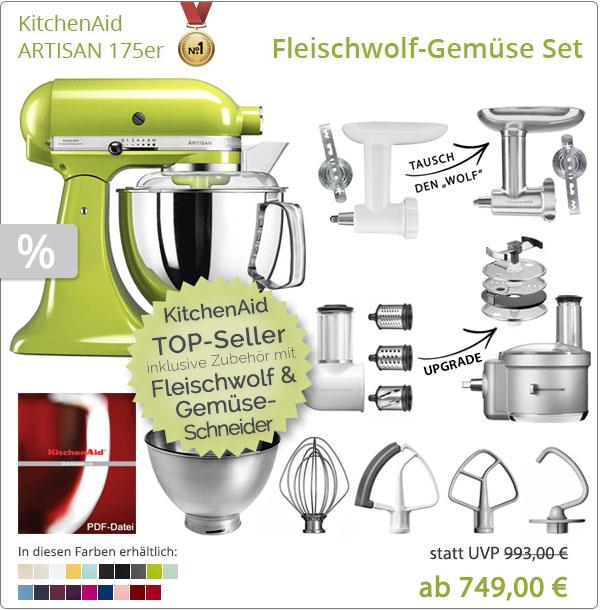KitchenAid Artisan 5KSM175PS mit Gemüseschneider und Fleischwolf